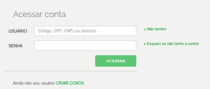 Acessando a conta no registro.br