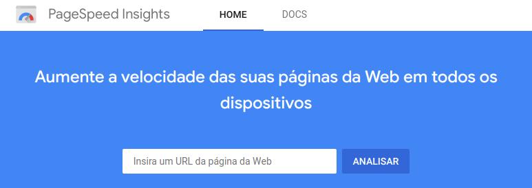Página inicial do Google PageSpeed Insights